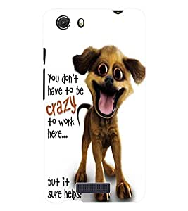 Fuson 3D Printed Crazy Dog Wallpaper Designer Back Case Cover for Micromax Unite 3 Q372 - D829