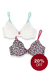 2 Pack Angel Cotton Rich Assorted Underwired Bras
