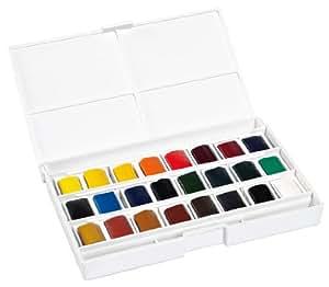 Lefranc & Bourgeois 601661 Boîte de 24 Peintures aquarelles avec palette détachable