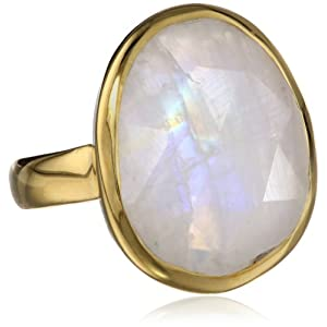 Sterling Silver with Yellow Gold Flashed Bezel Set Rainbow Moonstone Ring, Size 6