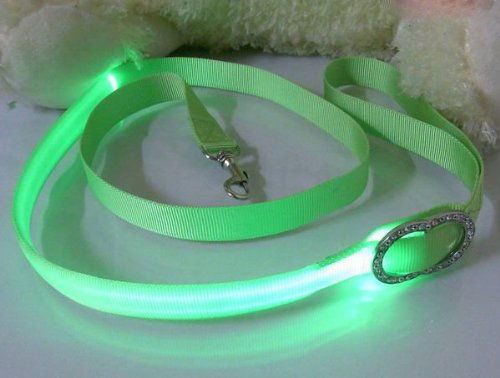 Green Nylon Webbing Dog Leash With Super Bright Green Fiber Optical Led Lights, Multi-Functional, Washable And Lightweight