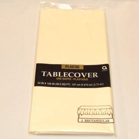 Vanilla Plastic Tablecover 54in X 108in - 1