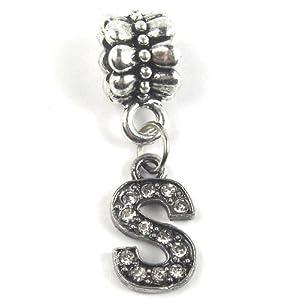 Alphabet Beads A-Z Dangle Charm w/ Crystal (Choose From Menu) For Snake Chain Bracelets