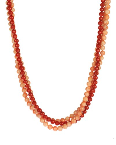 3-Row Dark Red and Pink Coral Beaded Necklace Vermeil Clasp, 19