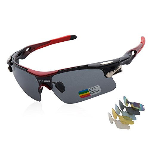 Sports Sunglasses, L·V·X·ING LVX548 Mens Polarized Sunglasses Mens Glasses Exchangeable 5 UV400 Lenses Cycling Hiking Running Outdoor Sunglasses Upgraded Design (Red)