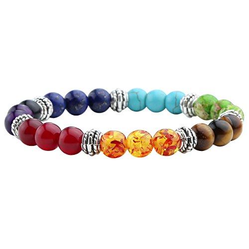 JOVIVI 7 Chakras Gemstone Bracelet Crystal Reiki Healing Balancing Round Beads