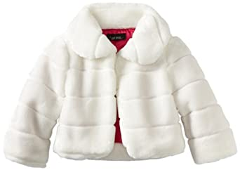 Amy Byer Big Girls'  Fur Jacket, White, Large
