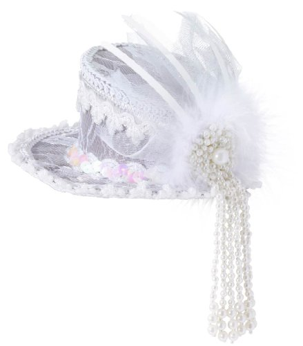 Mini Lace Ghostly Costume Top Hat - Adult Std.