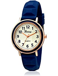 Geneva Collection Rose Gold Dial Analog Watch For Women-GNV-0012-Blue