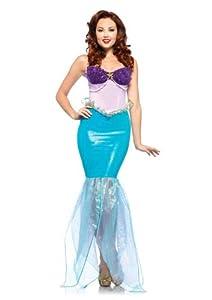 Leg Avenue Disney Undersea Ariel Halter Dress with Iridescent Organza Tail, Aqua/Purple, Large