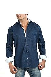 Faceman Men's Cotton Slim Fit Casual Shirt (A1001_Darkblue_XXL)
