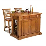 Kitchen Island and Two Stools in Cottage Oak - Home Styles - 5004-948