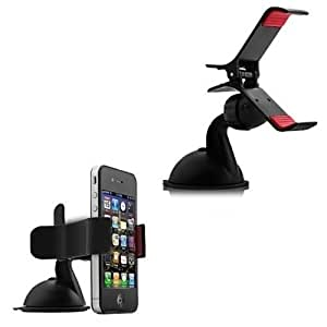 Gadget Decor Smartphone Car Mount Holder with suction cup - Multi-angle 360° Degree Rotating Clip Windshield Dashboard Toyota Hiace