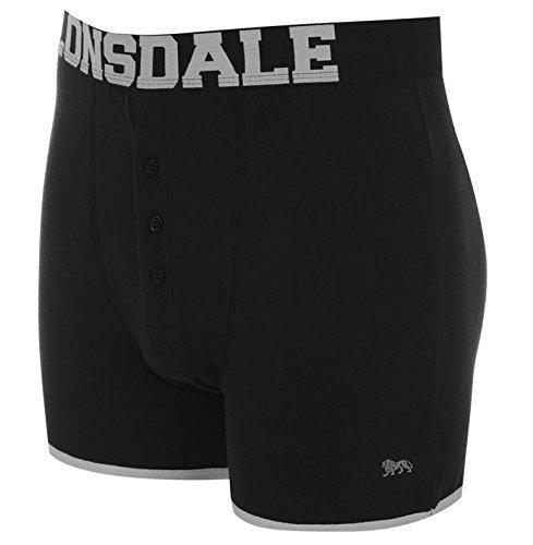 Lonsdale - Boxer da uomo, confezione doppia, Con inserto | Nero / argento (mit Eingriff | Schwarz / Silber), XXL