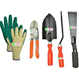"Easy Gardening - Garden Tools Kit (4Tools) + Knit Gardening Gloves - Trowel Big, 8"" Pruning Secateur, 2"" Khurpa..."