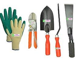 Easy Gardening - Garden Tools Kit (4Tools) + Knit Gardening Gloves - Trowel Big, 8