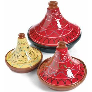 Spanish Terracotta Tagine With Red Hand Painted Lid 28cm by Regas