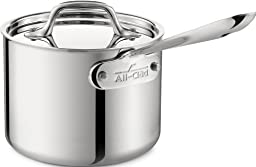 All-Clad 4202 Stainless Steel Tri-Ply Bonded Dishwasher Safe Sauce Pan with Lid / Cookware, 2-Quart, Silver