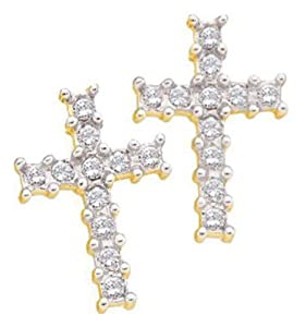 Pricegems 14K Yellow Gold Ladies Round Brilliant Diamond Post and Screw Back Stud Earrings (0.11 cttw, I-J Color, I1/I2 Clarity)