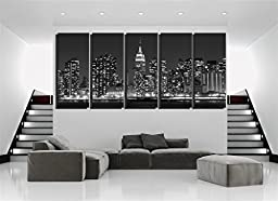 Damenight Midtown Manhattan Skyline At Night Night View of NY City Modern Canvas Wall Art Painting for Home Decor Stretched and Ready to Hang Cityscape the Picture for Home Decor,5pcs/set