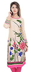 Clickedia Girl's & Women's faux Georgette Cream Flower Print Kurti