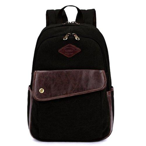 Ecocity Classic Canvas Laptop Rucksack Backpack For College School Black Tanashumum