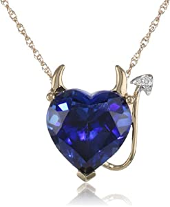 XPY 14k Yellow Gold Created Sapphire Heart Devil Pendant Necklace with Diamond Accent, 18""