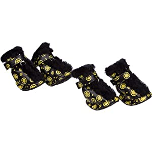 Pet Life Ultra Fur Comfort Year-Round Protective Boots in Yellow & Black - Medium