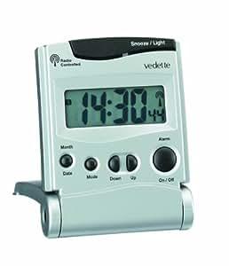 Vedette - 558.8097.11 - Réveil - Quartz Digitale - Radio Piloté - Radio Piloté - Projection de l'Heure - Température - Calendrier - Eclaurage - Alarme Répétition - Double Fuseau Horaire - Mode 12-24H