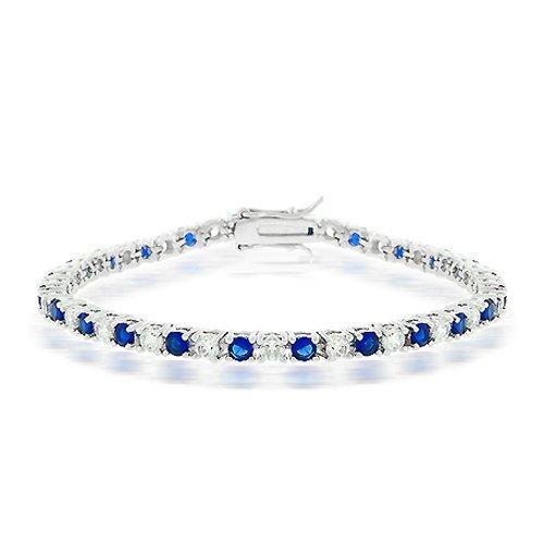 Bling Jewelry Blue Sapphire Color Cubic Zirconia Tennis Bracelet