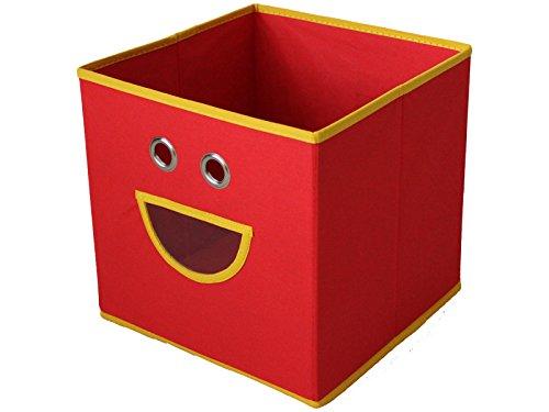 HS-Aufbewahrungsbox-TOM-verschiedene-Farben-Faltbox-Gesicht-Kinder-Korb-Staubox-Spielzeugbox-Kiste-28-x-28-x-28-cm-Rot