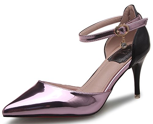 IDIFU Women's Fashion Pointy Closed Toe Stiletto Kitten Heels Pumps Shoes With Strap Purple 7 B(M) US