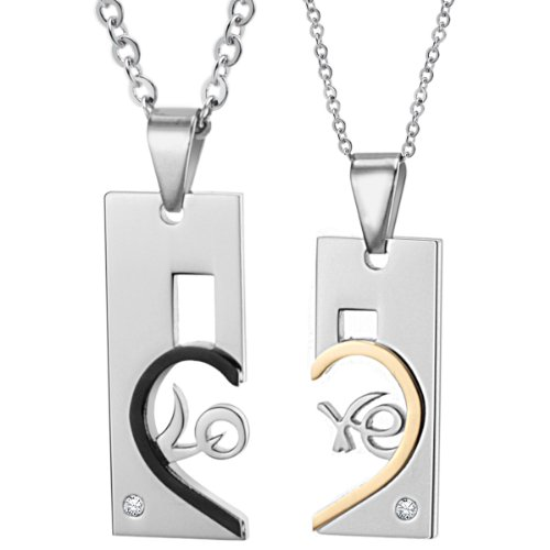 Opk Jewellery Necklaces Shinning Cubic Zirconia Inlaid Heart Drop Black And Gold Stainless Steel Neckwear Chains Pendants