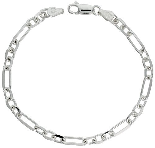 Sterling Silver Italian Diamond Cut Figaro-Cable Chain Nickel Free, 5mm wide, size 7 inch Bracelet