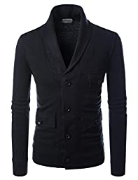 Nearkin (NKNKCD133) Beloved Mens City Casual Shawl Collar Urbane Knitted Cardigan BLACK US L(Tag size L)