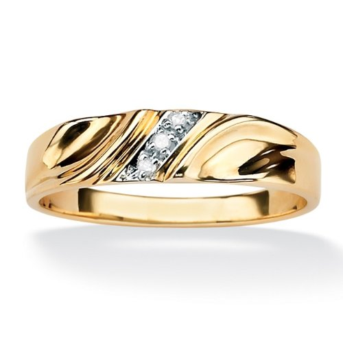 Men's Diamond Accent 18k Yellow Gold Over Sterling Silver Wedding Band Ring