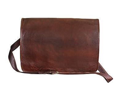 """True Grit Leather- """"Grunge"""" Leather Laptop Messenger Briefcase Crossover Shoulder Bag (18 Inch)"""