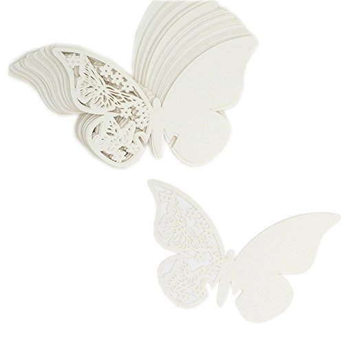LNKEY 50 x Pearly white butterfly on wineglass shimmer laser cut name card place card table number decoration for baptism communion wedding birthday party or other various occasions (Buttefly 2)