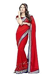 Offo Deals Womens Net Fancy Saree (TM-20_Red_Freesize)