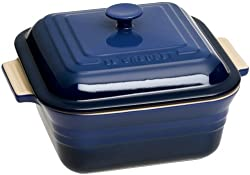 Le Creuset Stoneware 3-Quart 9-Inch Covered Square Casserole, Cobalt