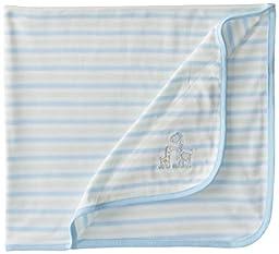 Little Me Baby Boys\' Giraffe Blanket, Light Blue Stripe, One Size