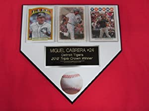 Miguel Cabrera Detroit Tigers 3 Card Collector HOME PLATE Plaque EXCLUSIVE DESIGN to... by J & C Baseball Clubhouse