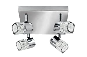 Searchlight 7884CC Blocs 4 Light Halogen Chrome Square Spotlight Ceiling Fitting from Searchlight