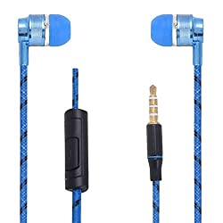Hello Zone Premium Quality Comfort Fit Earphone Handsfree Headphone (with Glow Thread-Embedded) with Mic 3.5 MM Jack for BlackBerry Z10 -Blue