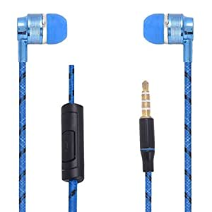 Hello Zone Premium Quality Comfort Fit Earphone Handsfree Headphone (with Glow Thread-Embedded) with Mic 3.5 MM Jack for Sony Xperia M4 Aqua -Blue