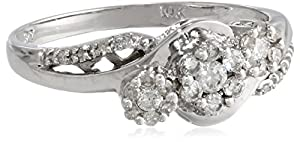 10k White Gold Bypass Cluster Diamond Ring (1/3 cttw, I-J Color, I2-I3 Clarity), Size 7