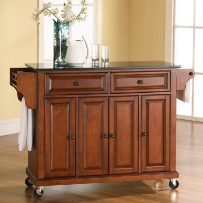 Black Friday Crosley Furniture Solid Black Granite Top Kitchen Cart Island In Classic Cherry