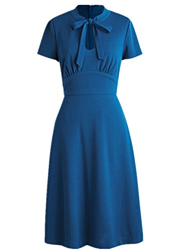 Wellwits Women's Keyhole Cutout Bowtie Vintage Collared Dress Royal Blue L