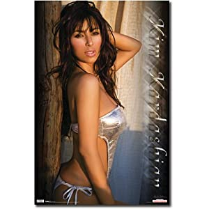 (22x34) Kim Kardashian in Silver Bikini, Photo Print Poster