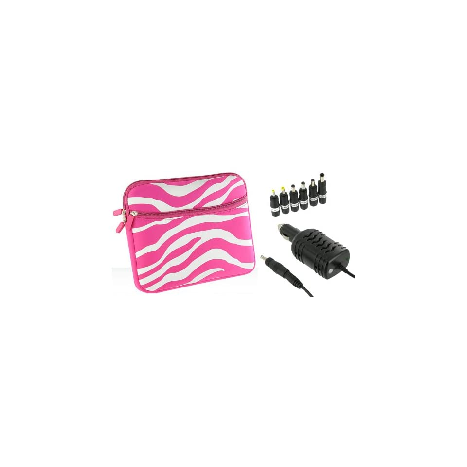 PCMS 2n1 Combo   Samsung N140 14R 10.1 Inch Netbook Neoprene Sleeve Case with 12v Car Charger   Zebra Magenta / White